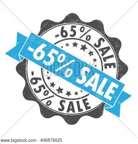 Stamp Impression With The Inscription - 65 Percent Sale. Old Worn Vintage Stamp. Stock Vector Illust