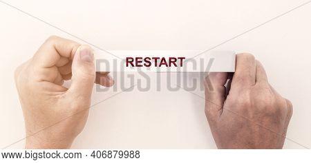 Restart Word, Inscription. Concept Of New Start And Reset