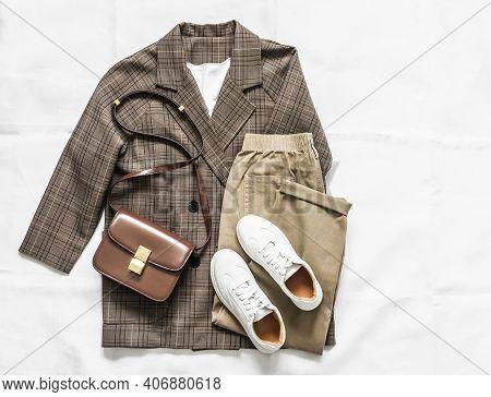 Women's Plaid Jacket, Jogger Pants, White Leather Sneakers, Bag - Women's Fashionable Comfortable Cl
