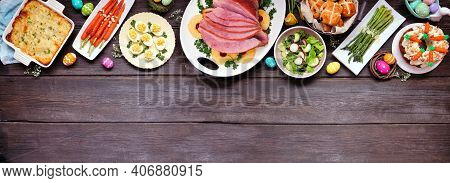 Traditional Easter Ham Dinner. Above View Top On A Dark Wood Banner Background With Copy Space. Ham,
