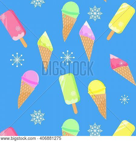 Seamless Pattern With Ice Cream. Ice Cream Scoops Seamless Pattern. Ice Cream Desserts Seamless Patt