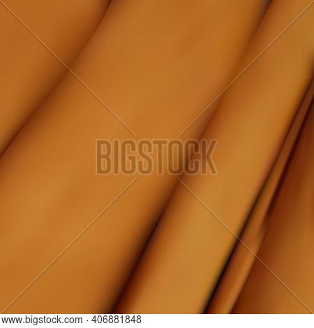 Crumpled And Wavy, Luxury Red Silk Or Satin Fabric With Smooth Surface Area 3d Realistic Vector Abst