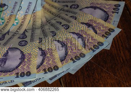 Money On The Table, Lei On Table Close Up. Business Concept. Romanian Currency