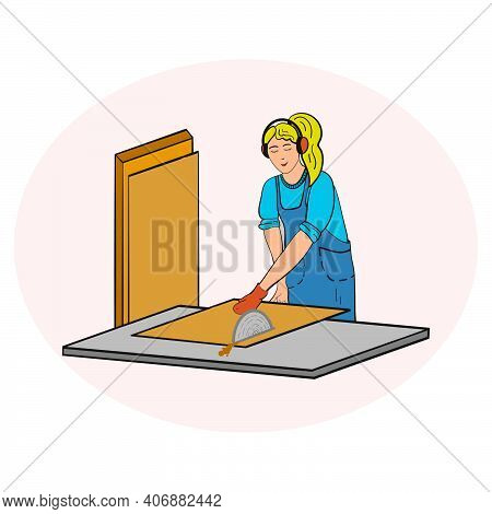 Vector Drawing Woodworking Girl At The Machine