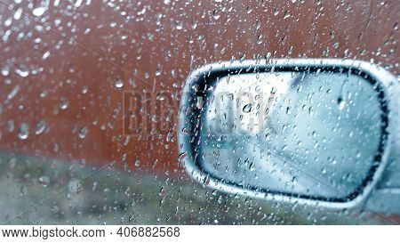Rainy Mood In A Textured Air Background With A View Of The Rain From The Car Window, Fresh Blue Drop