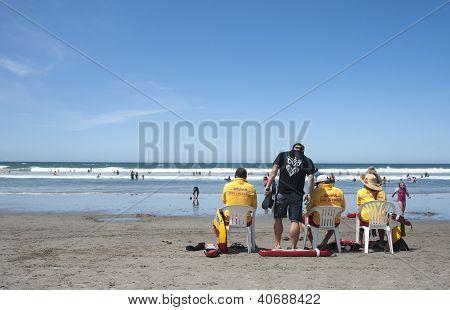 Lifeguards at the beach.