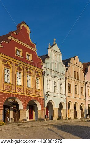 Telc, Czech Republic - September 14, 2020: Colorful Facades Of Historic Houses In Telc, Czech Republ