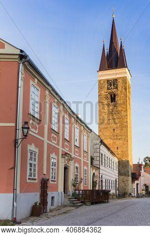 Telc, Czech Republic - September 14, 2020: Tower Of The Church Of The Holy Spirit In Telc, Czech Rep