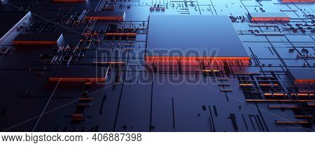 Artificial Intelligence And Machine Learning Concept. Digital Abstract Background, Computer Technolo