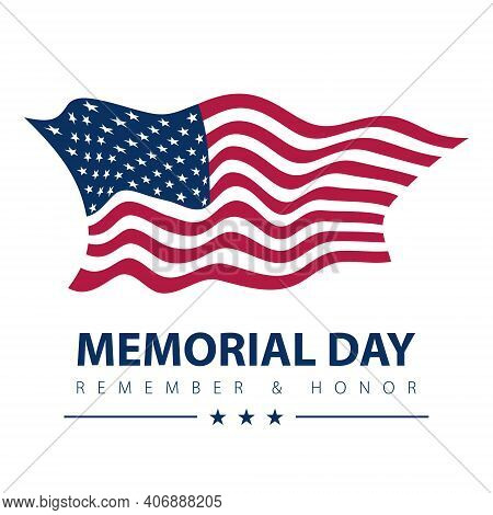 Memorial Day Patriotic Banner. Vector American Flag On White Background. Usa National Veterans Pride