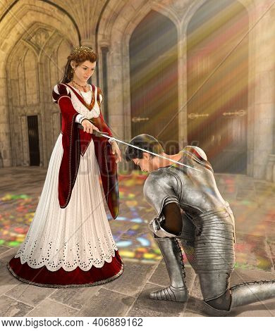 Young Fairytale Princess Knights A Young Medieval Knight With A Sword Into Knighthood In Front Of Th