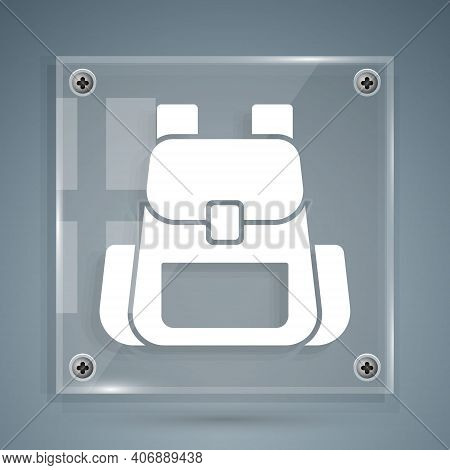 White Hiking Backpack Icon Isolated On Grey Background. Camping And Mountain Exploring Backpack. Squ