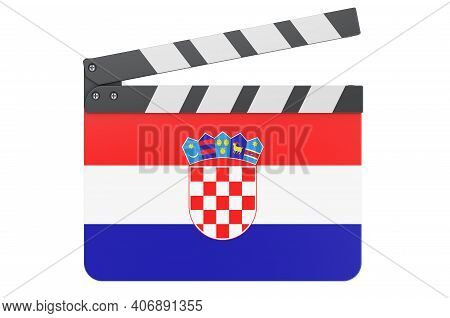 Movie Clapperboard With Croatian Flag, Film Industry Concept. 3d Rendering Isolated On White Backgro