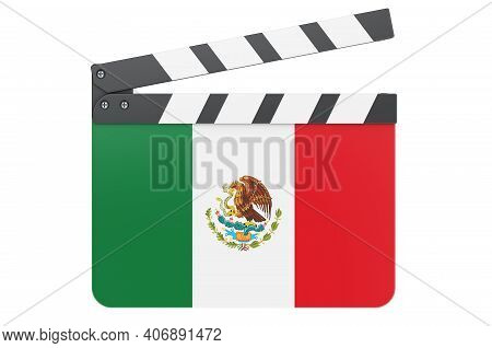 Movie Clapperboard With Mexican Flag, Film Industry Concept. 3d Rendering Isolated On White Backgrou