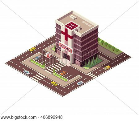 Isometric Hospital Or Ambulance Building Mockup With Signage, Helicopter Pad And Road Infrastructure