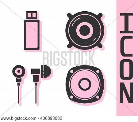 Set Stereo Speaker, Usb Flash Drive, Air Headphones And Stereo Speaker Icon. Vector