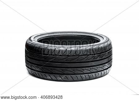 Brand  New Asymmetric Type Low Profile Sport Tyre Isolated On White