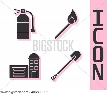 Set Fire Shovel, Fire Extinguisher, Building Of Fire Station And Burning Match With Fire Icon. Vecto