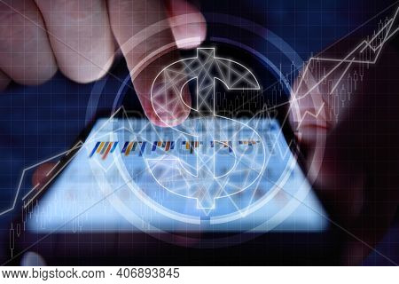 Businessman Hands Analyzing Annual Report On Smart Phone Screen With Dollar  Hologram. Finance And T