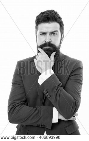 To Beard Or Not To Beard. Serious Hipster Touch Beard Isolated On White. Lawyer With Shaped Mustache