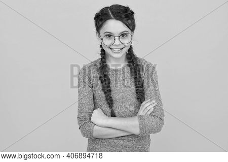 In Childhood We Smile For No Reason. Happy Girl Child Yellow Background. Enjoying Childhood Years. C