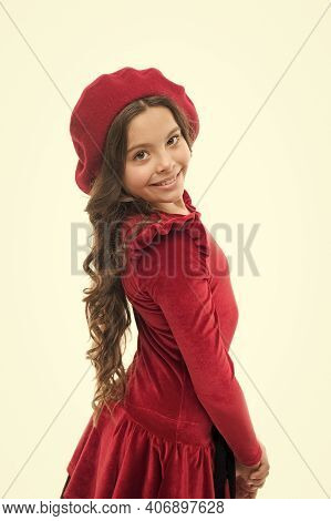 Fashionable Kid. Happy Girl. French Style Child. Parisian Girl In Beret. Fashion Portrait Cute Girl