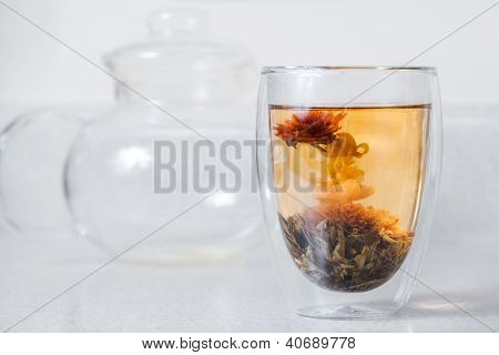 Flowering Tea and Teapot