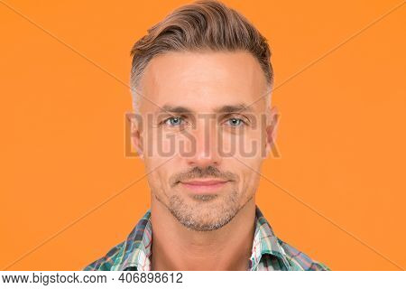 Male Natural Beauty. Sexy Man Yellow Background. Portrait Of Real Man. Mature Man Unshaven Face. Smi