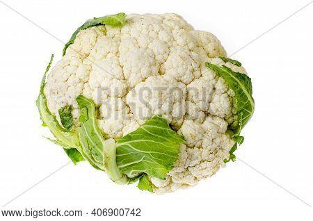 Fresh Head Of Cauliflower On White Background