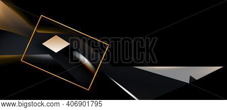 Toned Lit In Dark Abstract Background, Shadow Contrast Composition. Texture Of Minimal Technological