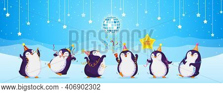 Birthday Greeting Card With Cute Dancing Penguins. Blue Background With Stars, Disco Ball, Snowflake