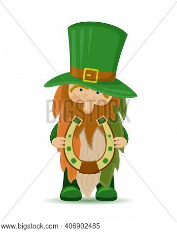 A Cute St Patrick's Day Leprechaun Cartoon Character With Horseshoe And Beard In The Colors Of The I