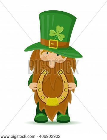 A Cute St Patrick's Day Leprechaun Cartoon Character With Horseshoe. Irish Gnome With Shamrock On Ha