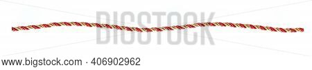 Silk Red And Gold Rope Isolated On White Background