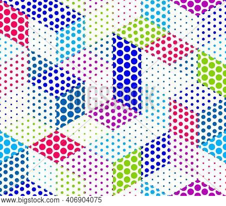 Dotted Geometric 3D Seamless Pattern With Cubes, Dotty Boxes Blocks Vector Background, Architecture