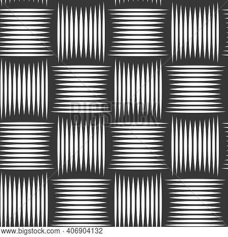 Weave Seamless Pattern, Vector Linear Background With Woven Texture, Textile Knitted Repeat Tiling W