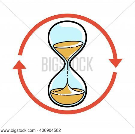 Hourglass Sand Watch With Loop Arrow Vector Illustration Or Icon Isolated On White, Deadline, Infini