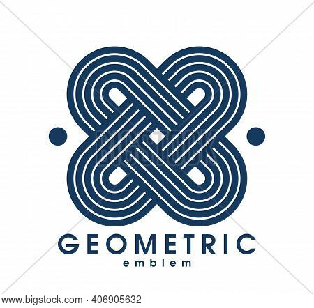 Abstract Geometric Vector Logo Isolated On White, Linear Graphic Design Modern Style Symbol, Line Ar