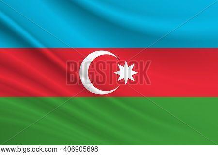 Flag Of Azerbaijan. Fabric Texture Of The Flag Of Azerbaijan