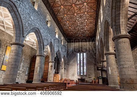 Aberdeen, Scotland - August 11, 2019: The Interior And Flat Decorative Ceiling Of Cathedral Church O