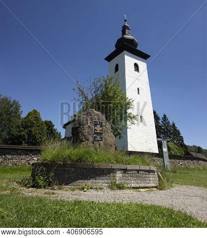 Kremnica, Slovakia - July 5, 2020: Geographical Centre Of Europe (geograficky Stred Europy) Near Kre