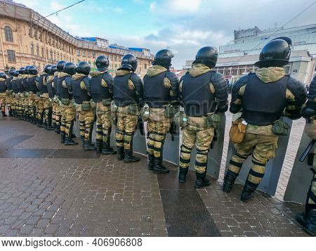 St. Petersburg, Russia, January 31 2021. Anti-corruption Protests After Alexei Navalnys Arrest On Pu