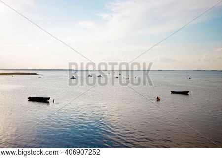 Fishing Boat On The Shore On Lake