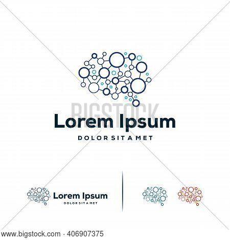 Brain Connect Logo Designs Concept Vector, Brain Tech Logo Template, Robotic Brain Logo