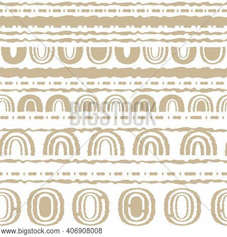 Abstract Seamless Repeat Endless Pattern. Ovals, Semicircles, Rainbows, Lines, Dots, Circles And Oth