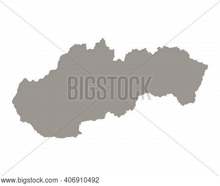 Silhouette Of Slovakia Country Map. Highly Detailed Editable Gray Map Of Slovakia Territory Borders.