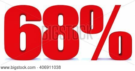 68 Percent Off 3d Sign On White Background, Special Offer 68% Discount Tag, Sale Up To 68 Percent Of