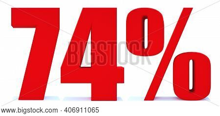 74 Percent Off 3d Sign On White Background, Special Offer 74% Discount Tag, Sale Up To 74 Percent Of