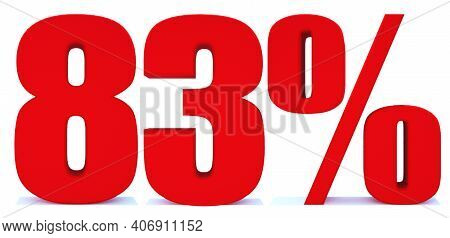 83 Percent Off 3d Sign On White Background, Special Offer 83% Discount Tag, Sale Up To 83 Percent Of