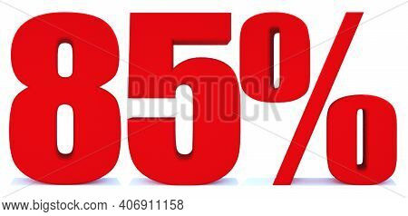85 Percent Off 3d Sign On White Background, Special Offer 85% Discount Tag, Sale Up To 85 Percent Of